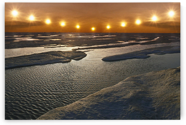 Midnight Sun Multiple Exposure Arctic Alaska /Nice Floating Summer Sunset Composite by PacificStock