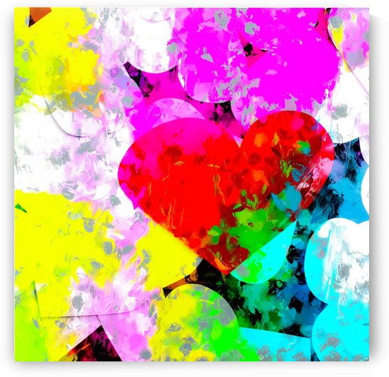 red heart shape pattern with colorful painting abstract in pink blue green yellow by TimmyLA