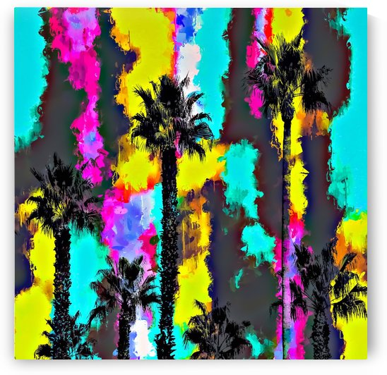 palm tree pattern with painting texture abstract in green blue yellow pink by TimmyLA