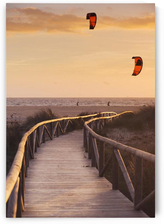 Spain, Andalusia, Cadiz, Costa de la Luz, Parasurfing; Tarifa by PacificStock