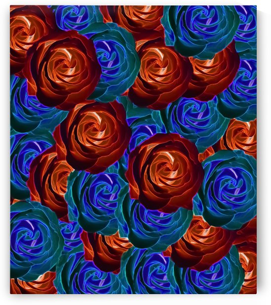 rose texture pattern abstract background in red and blue by TimmyLA