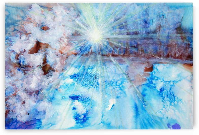 Abstract watercolour painting with a starburst by PacificStock