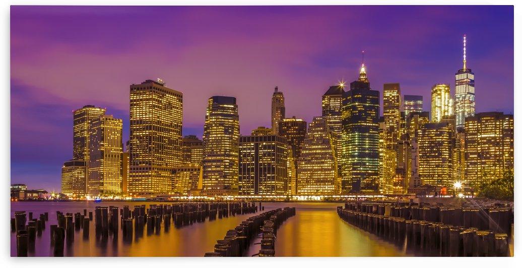 MANHATTAN SKYLINE Bright Sunset   Panoramic by Melanie Viola