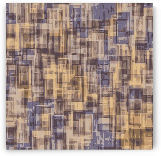 psychedelic geometric square pattern abstract in brown and blue by TimmyLA