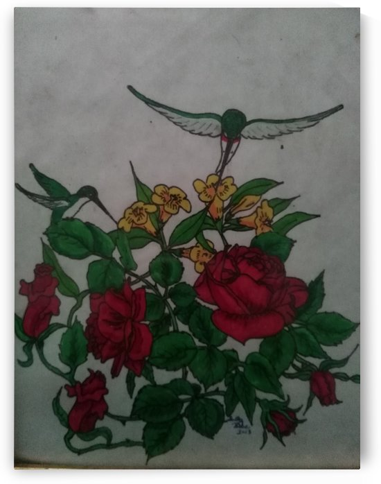 Hummingbird Rose by Sally Bell