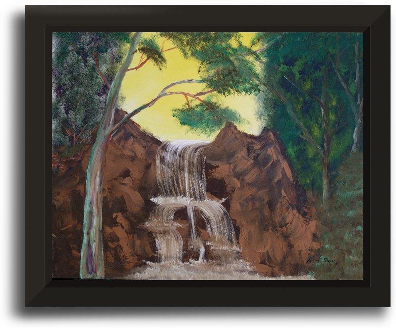 Painted Gum Tree beside a waterfall. by Alan Skau