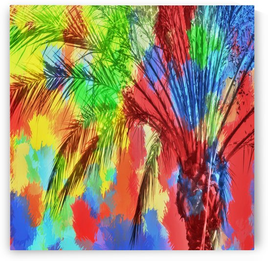 isolate palm tree with painting abstract background in red blue green yellow by TimmyLA