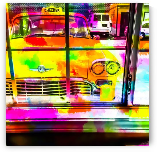 yellow classic taxi car with colorful painting abstract in pink orange green by TimmyLA