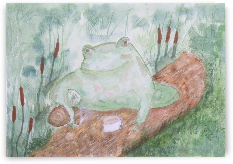 Frog having a tea break. by Alan Skau