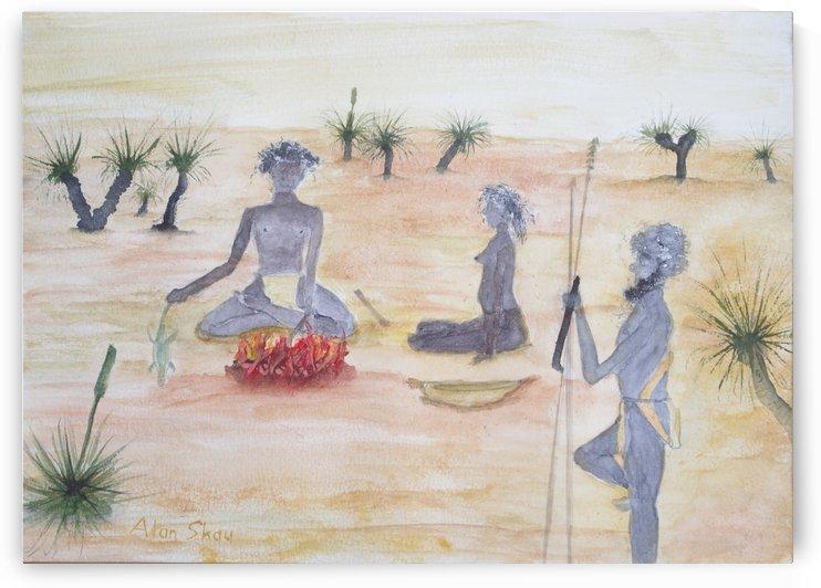 Traditional Aboriginals cooking. by Alan Skau