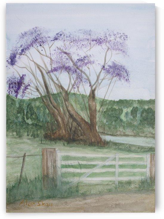 Tree with lavander flowers. by Alan Skau