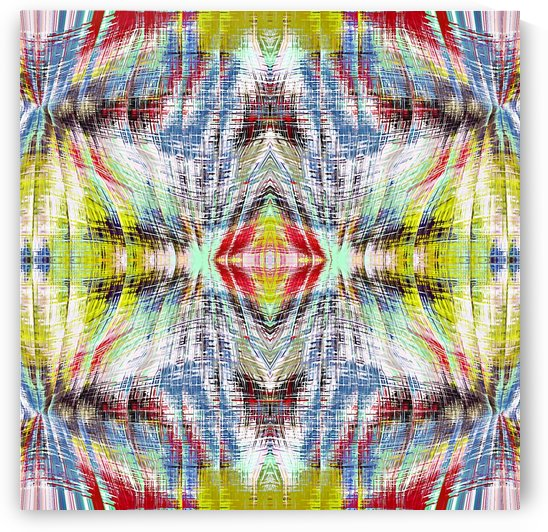 geometric symmetry pattern abstract background in blue yellow red by TimmyLA