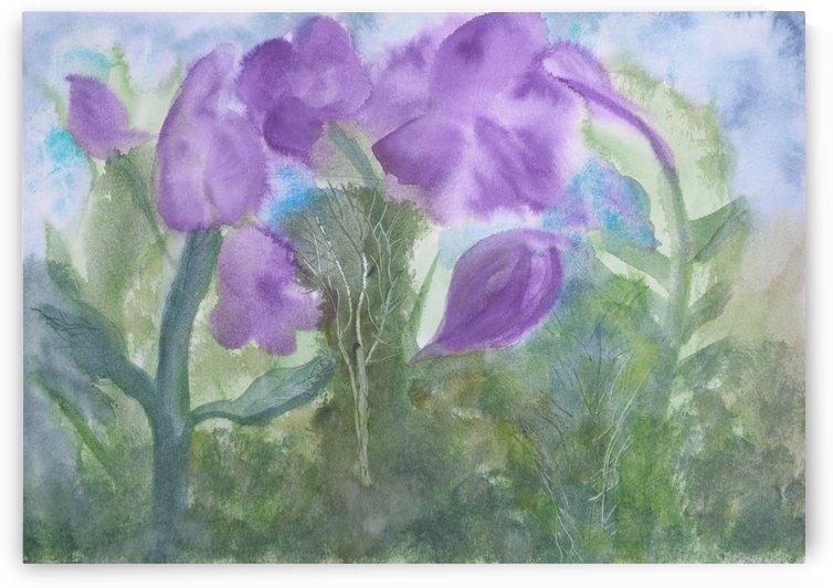 Purple flowers- green foliage. by Alan Skau