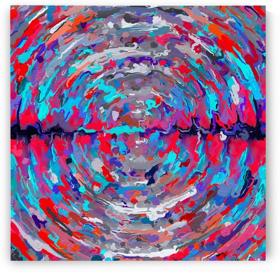 psychedelic circle pattern painting abstract background in blue red purple by TimmyLA