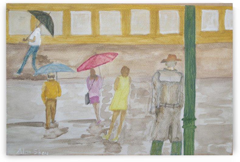 Watching people crossing a wet street. by Alan Skau