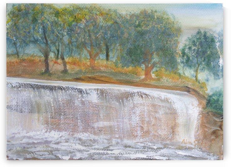 Wide waterfall. by Alan Skau