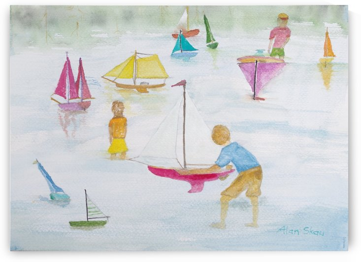 Children playing with sailboats. by Alan Skau