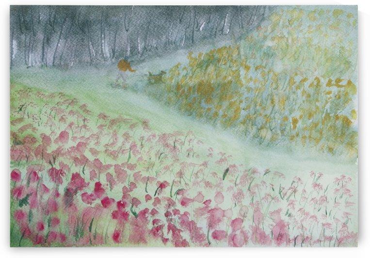 Walking the dog through wildflowers. by Alan Skau