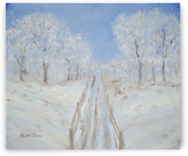Car track in the snow. by Alan Skau