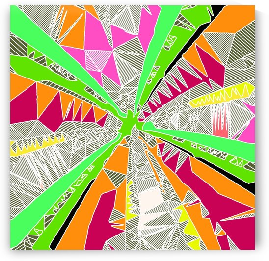 psychedelic geometric pattern drawing abstract background in green orange red pink by TimmyLA
