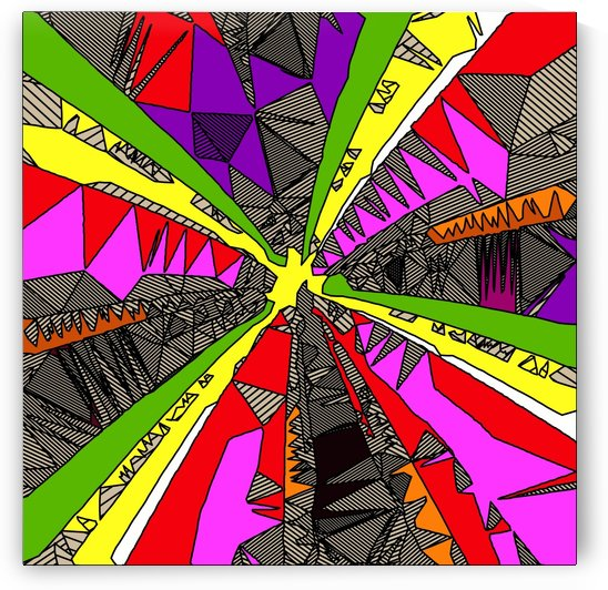 psychedelic geometric pattern drawing abstract background in red pink green yellow by TimmyLA