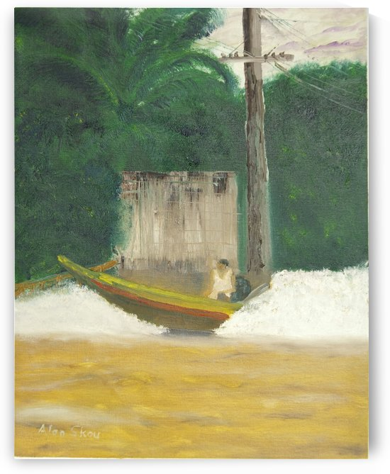 Speeding Thai boat. by Alan Skau
