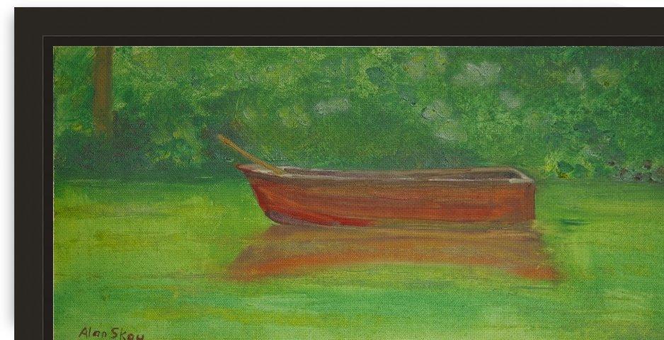 Rowboat drifting. by Alan Skau