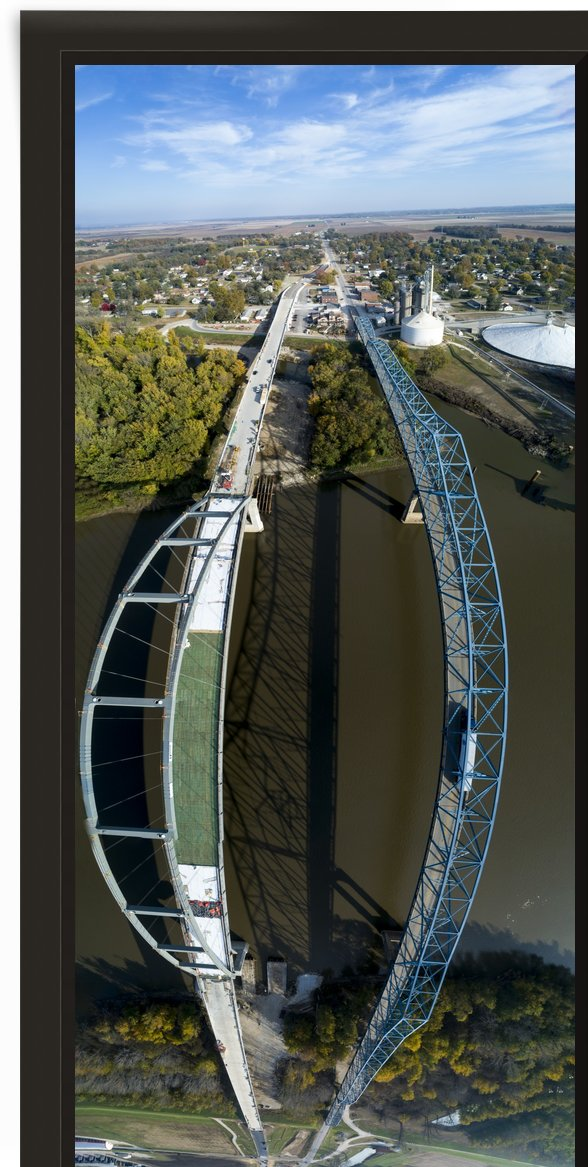 Meredosia Bridges, Panoramic View by Jordan Williams of Air Imagery Services