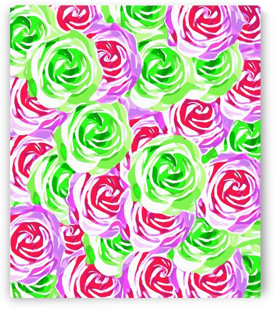 closeup rose pattern texture abstract background in pink red green by TimmyLA