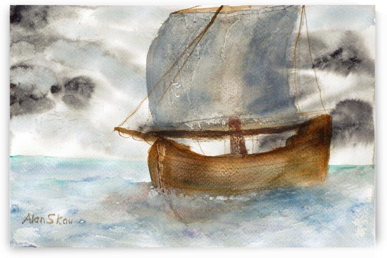 Single mast sailing ship. by Alan Skau