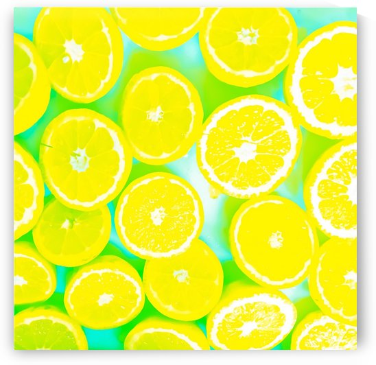 juicy yellow lemon pattern abstract with green background by TimmyLA