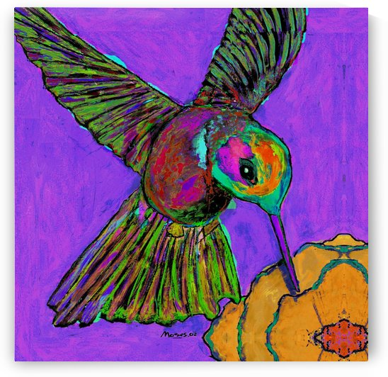 HUMMINGBIRD ON PURPLE by Moses