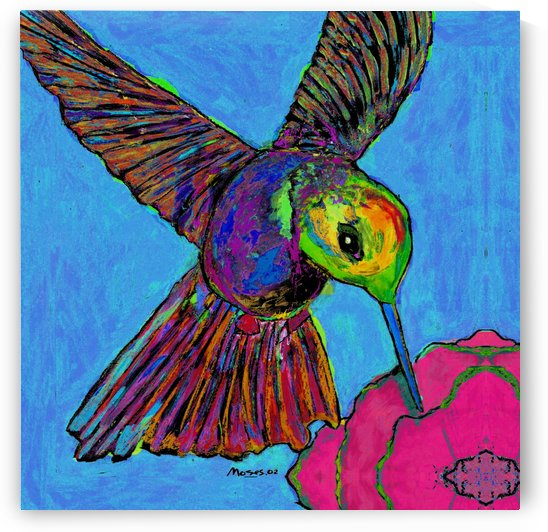 HUMMINGBIRD ON BLUE by Moses