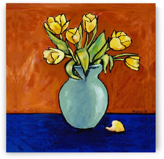 TULIPS IN A TURQUOISE VASE by Moses