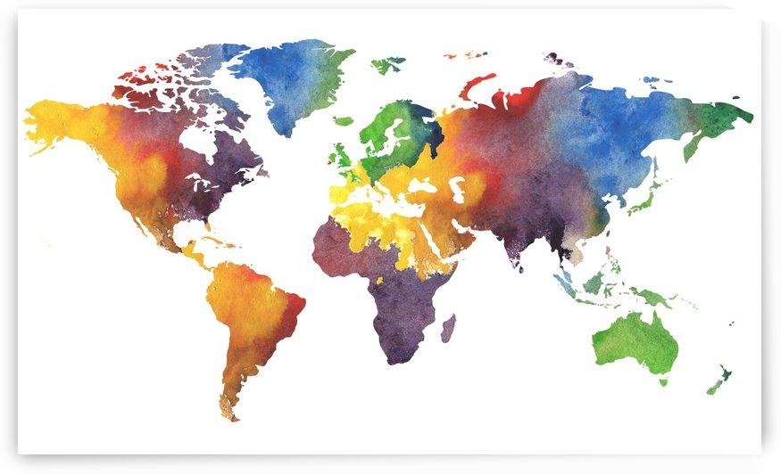 Colorful Map Of The World Watercolor by Irina Sztukowski