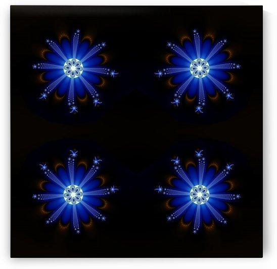 Blue star fractal in darkness by CiddiBiri