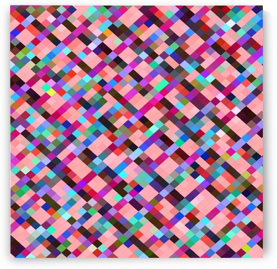 geometric pixel square pattern abstract background in pink purple blue yellow green by TimmyLA