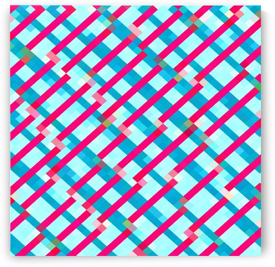 geometric pixel square pattern abstract background in blue pink by TimmyLA