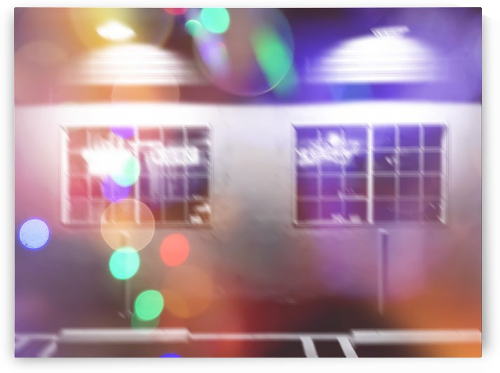 restaurant in the city with the colorful night light bokeh abstract by TimmyLA