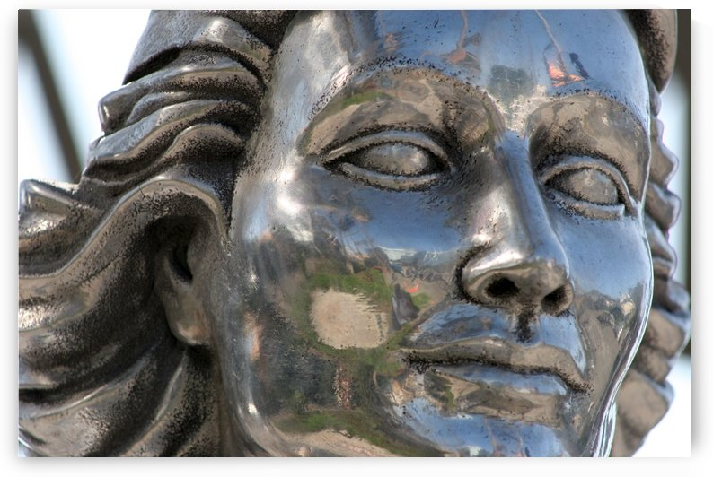 Face of Dolores Del Rio Silver Statue by Hold Still Photography