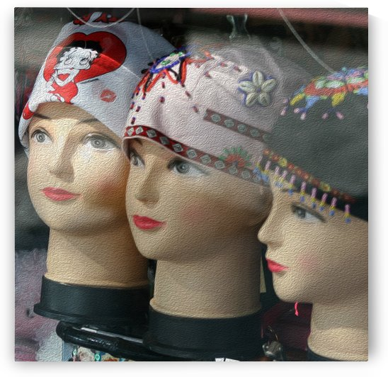 Three Mannequin Heads with Bandanas by Hold Still Photography