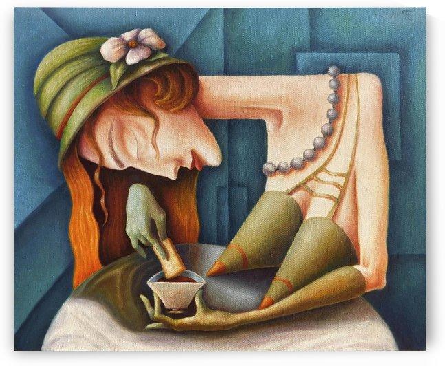 I drink tea with toast by Andrey Polunin