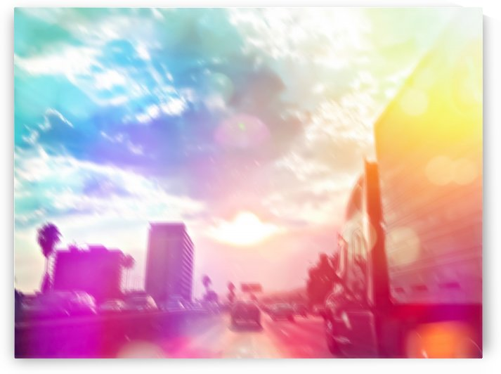 blue cloudy sky on the road with colorful bokeh light abstract by TimmyLA