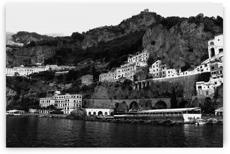 Amalfi Coast Black and White Landscape by Bentivoglio Photography