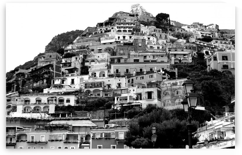 Black and White Landscape - Positano - Italy by Bentivoglio Photography