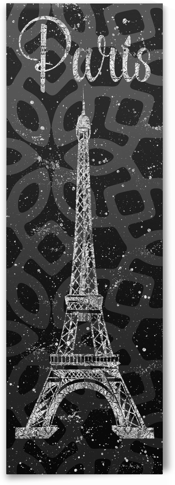 Graphic Art PARIS Eiffel Tower | ultraviolet & silver by Melanie Viola