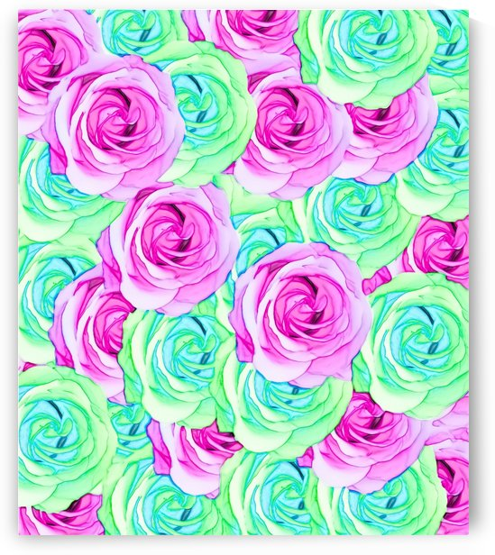 blooming rose texture pattern abstract background in pink and green by TimmyLA