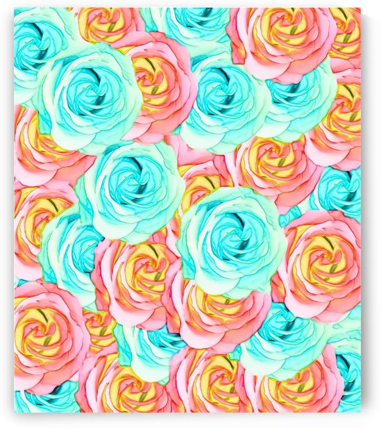 blooming rose texture pattern abstract background in red and blue by TimmyLA