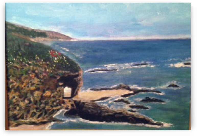 Original Calif Beach Natural Arch painting by Darryl Green