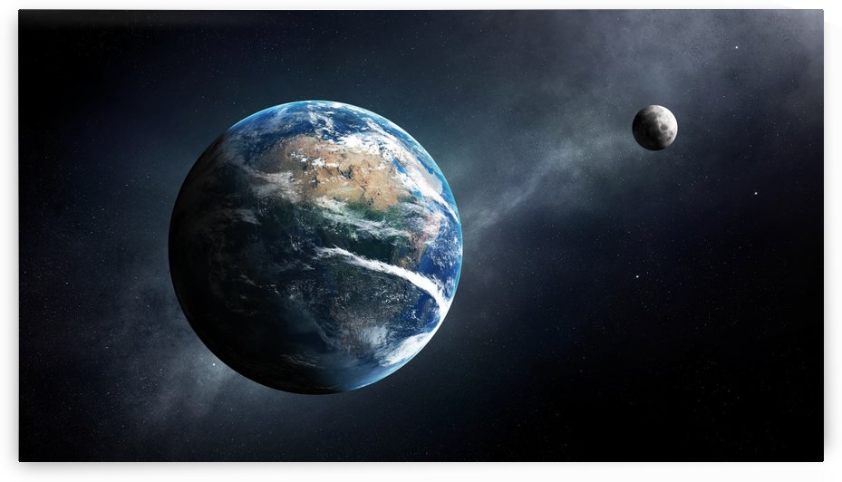 Earth and moon space view by Johan Swanepoel
